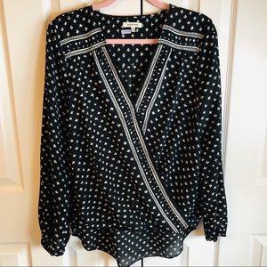 Max Studio Front Wrap Long Sleeve Blouse - size L